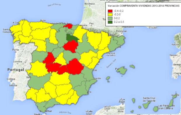 variación anual compraventa viviendas por provincias 2013-2014 (II)